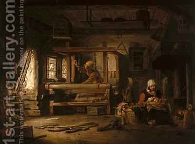 Interior of a Weavers Cottage with a Mother and Child by Cornelius Decker - Reproduction Oil Painting