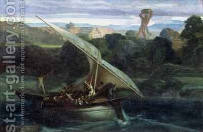 Polyphemus attacking sailors in their boat by Alexandre Gabriel Decamps - Reproduction Oil Painting