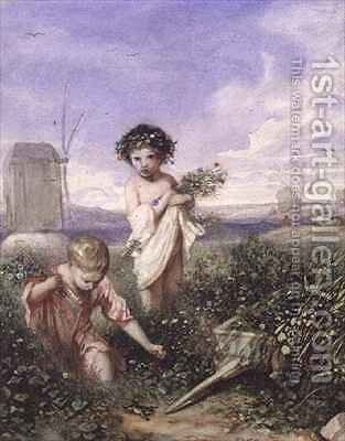 Children Gathering Flowers by Alexandre Gabriel Decamps - Reproduction Oil Painting