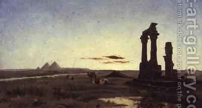 A Bedouin Encampment by a Ruined Temple by Alexandre Gabriel Decamps - Reproduction Oil Painting
