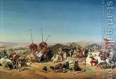 Capture of the Tribe of Abd el Kader 1808-83 by Henri dOrleans 1822-97 Duke of Aumale 2 by Alfred Charles Ferdinand Decaen - Reproduction Oil Painting