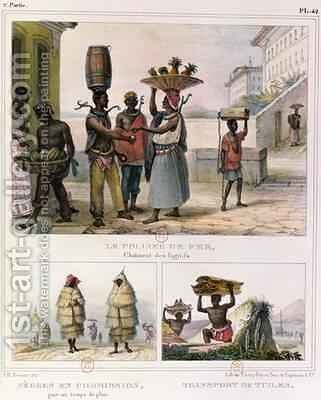 The Iron Collar Negroes Working in the Rain and Carrying Tiles three illustrations from Voyage Pittoresque et Historique au Bresil by Jean Baptiste Debret - Reproduction Oil Painting