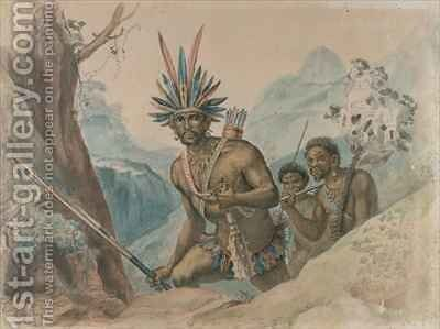 Chief of the Bororenos preparing for an attack by Jean Baptiste Debret - Reproduction Oil Painting