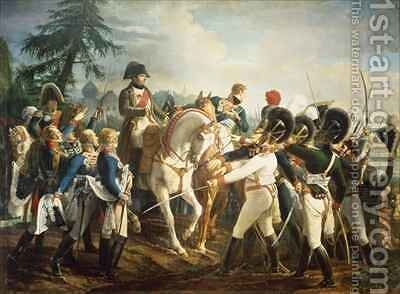 Napoleon and the Bavarian and Wurttemberg troops in Abensberg by Jean Baptiste Debret - Reproduction Oil Painting