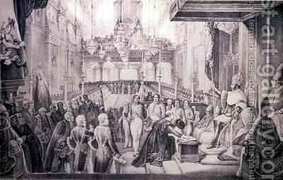 The Coronation of Dom Pedro I 1798-1834 as Emperor of Brazil by (after) Debret, Jean Baptiste - Reproduction Oil Painting