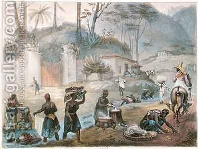 Black Washerwomen by a River by (after) Debret, Jean Baptiste - Reproduction Oil Painting