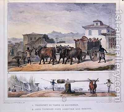 Transporting Meat and Taming an Ox by (after) Debret, Jean Baptiste - Reproduction Oil Painting