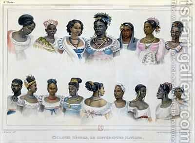 Black Slaves from Different Nations by (after) Debret, Jean Baptiste - Reproduction Oil Painting