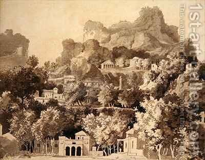 Rocky landscape with classical buildings by James Deacon - Reproduction Oil Painting