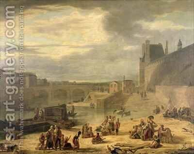 View of the Grand Gallery of the Louvre the Tuileries and the Pont Royal by J.F. De Pelchin - Reproduction Oil Painting