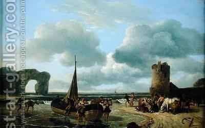 Coastal Scene by Jean Louis (Marnette) De Marne - Reproduction Oil Painting