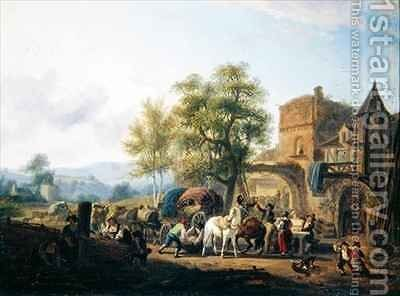 Rest before an Inn by Jean Louis (Marnette) De Marne - Reproduction Oil Painting