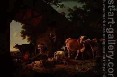 Animals Coming out of the Barn by Jean Louis (Marnette) De Marne - Reproduction Oil Painting