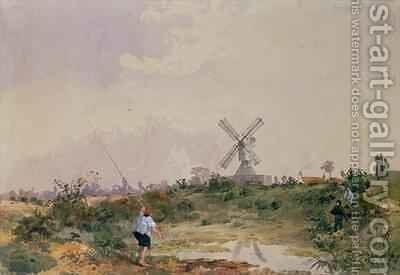 The Windmill on Wimbledon Common with a Boy Fishing by J. B. de Fleury - Reproduction Oil Painting