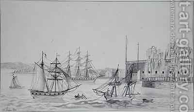 The Battery and Port of New York by Gustave de Beaumont - Reproduction Oil Painting