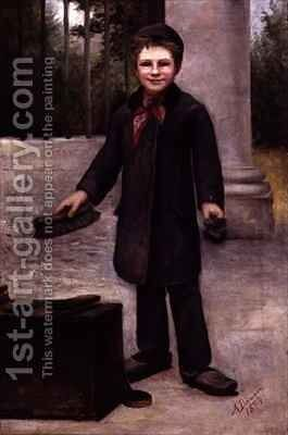 Shoe Shine Boy by A. Dawson - Reproduction Oil Painting