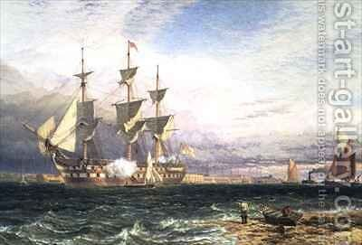 Sheerness Island of Sheppey Guardship Saluting by Henry Thomas Dawson - Reproduction Oil Painting