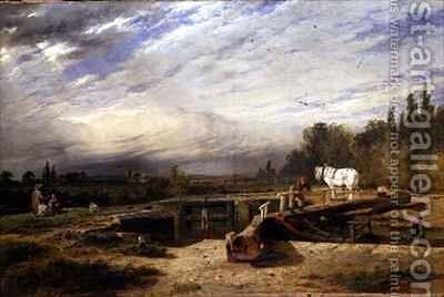 Trent Lock on the Grantham Canal near Nottingham by Henry Thomas Dawson - Reproduction Oil Painting