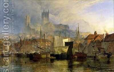 Lincoln Cathedral from the Brayford Pool by Henry Thomas Dawson - Reproduction Oil Painting