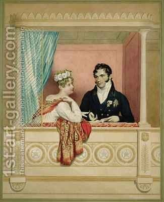 Princess Charlotte Augusta of Wales 1796-1817 and Prince Leopold of Saxe Cobourg Gotha 1790-1865 in their Box at Covent Garden by (after) Dawe, George - Reproduction Oil Painting