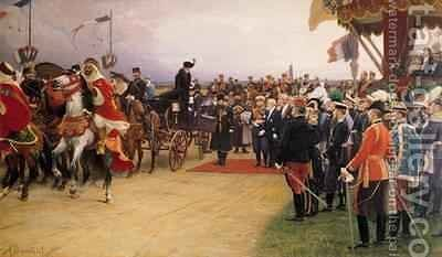 President Emile Loubet 1838-1929 Welcoming Tsar Nicolas II 1894-1917 and the Empress Alexandra 1872-1918 to the Camp at Betheny by Albert Pierre Dawant - Reproduction Oil Painting