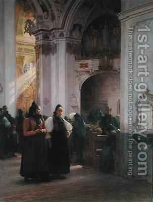 The End of Mass in Einsiedeln by Albert Pierre Dawant - Reproduction Oil Painting