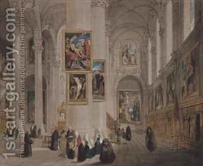Interior of a church at St Rombaut Malines by John Scarlett Davis - Reproduction Oil Painting
