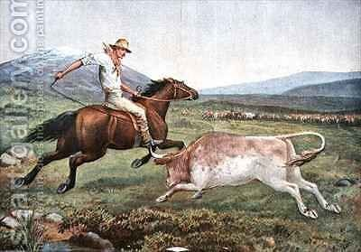 Mustering Cattle on the Bogong High Plains A Rough Customer by (after) Davis, J. - Reproduction Oil Painting