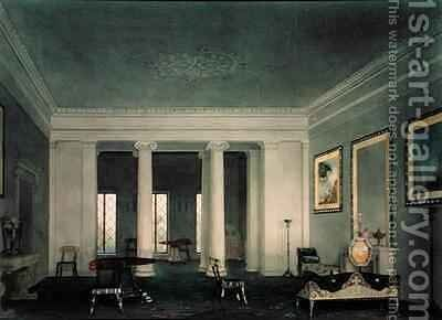 Greek Revival Double Parlor by Alexander Jackson Davis - Reproduction Oil Painting