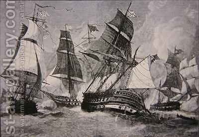 Battle of Chesapeake Bay by (after) Davidson, Julian Oliver - Reproduction Oil Painting
