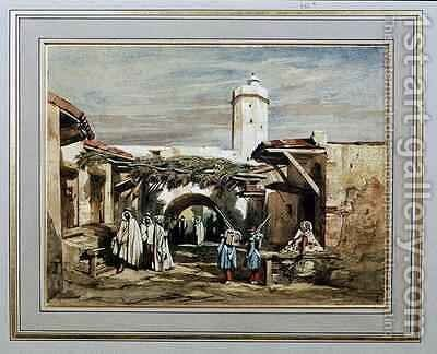 The Port of Blida Algeria by Adrien Dauzats - Reproduction Oil Painting