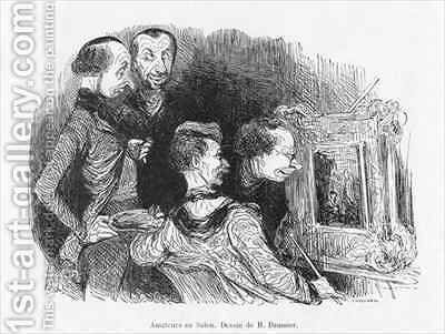 Amateurs at the Salon by (after) Daumier, Honore - Reproduction Oil Painting