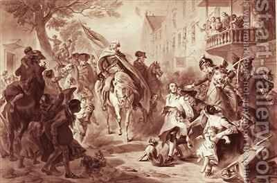 George Washington entering New York in 1783 by (after) Darley, Felix Octavius Carr - Reproduction Oil Painting