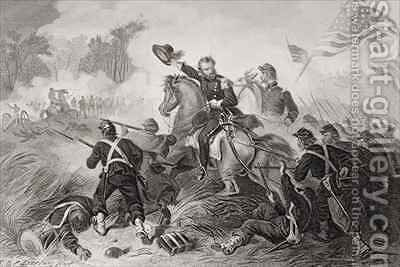 General Lyons 1818-61 charge at the Battle of Wilsons Creek Missouri by (after) Darley, Felix Octavius Carr - Reproduction Oil Painting