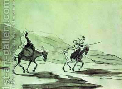 Don Quixote and Sancho Panza by Honoré Daumier - Reproduction Oil Painting