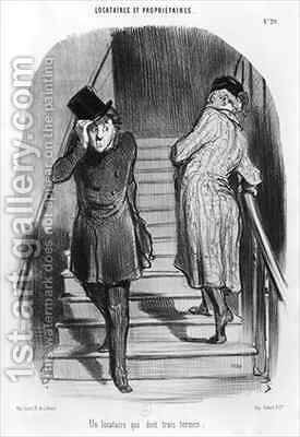 A tenant who owes three terms by Honoré Daumier - Reproduction Oil Painting