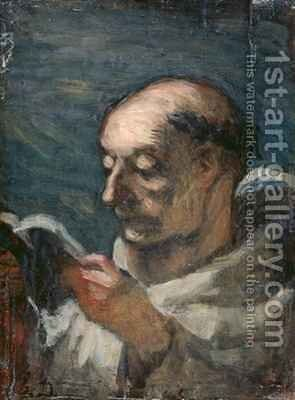 Monk Reading by Honoré Daumier - Reproduction Oil Painting