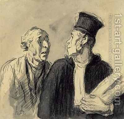 The Lawyer and his Client 2 by Honoré Daumier - Reproduction Oil Painting