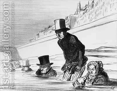 Series Actualites Parisians already taking their precautions to avoid being roasted by the comet by Honoré Daumier - Reproduction Oil Painting