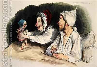 Ecstatic parents with their new baby by Honoré Daumier - Reproduction Oil Painting
