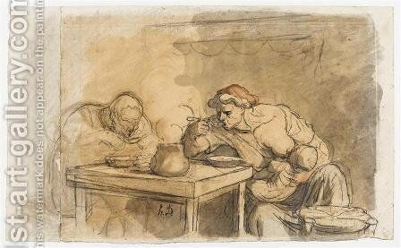 The Soup by Honoré Daumier - Reproduction Oil Painting