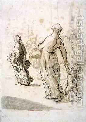 Two Women and a Child by Honoré Daumier - Reproduction Oil Painting