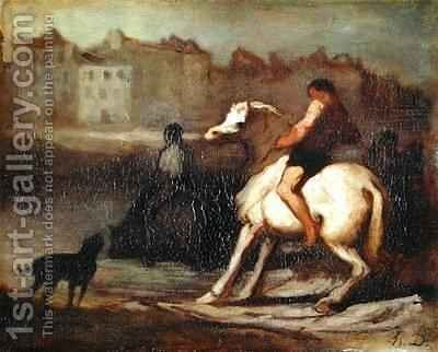 The Watering Place Bank of the Seine by Honoré Daumier - Reproduction Oil Painting