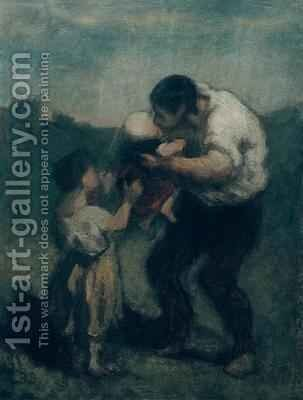 The Kiss 2 by Honoré Daumier - Reproduction Oil Painting