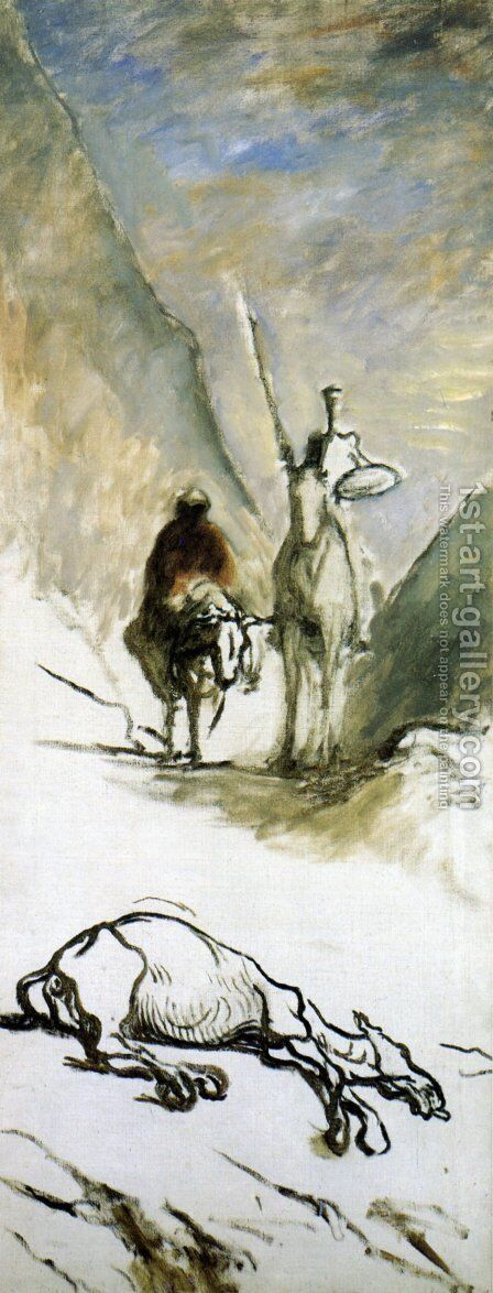 Don Quixote Sancho Panza and the Dead Mule by Honoré Daumier - Reproduction Oil Painting