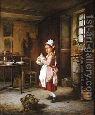 Laying the Table by Andre Henri Dargelas - Reproduction Oil Painting