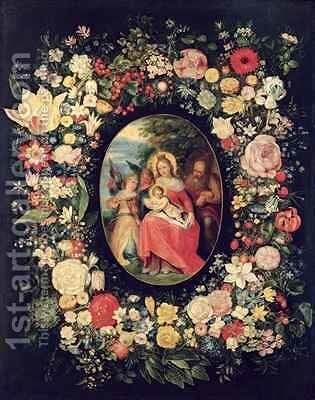 The Holy Family Framed by a Garland of Flowers by Andries Daniels or Danielsz - Reproduction Oil Painting