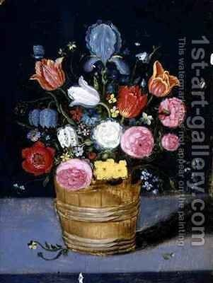Still Life of Flowers in a Wooden Tub by Andries Daniels or Danielsz - Reproduction Oil Painting