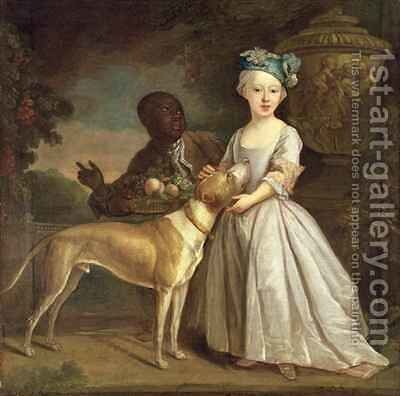A Young Girl with a Dog and a Page by Bartholomew Dandridge - Reproduction Oil Painting