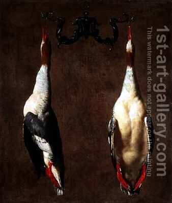 Two Wild Ducks Hanging by Cesare Dandini - Reproduction Oil Painting